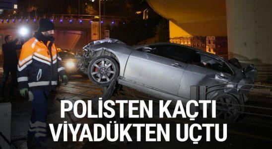 Polis hakimiyetinden kaçan araba viyadükten uçtu: 3 yaralı