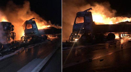 Mersin'de vahim kaza! Taşıtlar alev alev yandı, iki birey yaralı